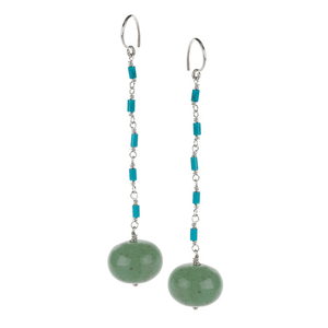 Long, Jade, Turquoise, Silver Plated, Natural Stone, Earrings, Green, Turquoise