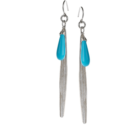 Long, Leaf, Drop, Silver Plated, Natural Stone, Earrings, Turquoise