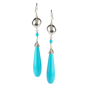Drop, Silver, Turquoise, Bead, Silver Plated, Natural Stone, Earrings, Silver,