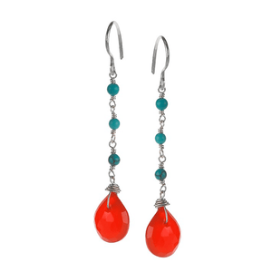 Carnelia, Drop, Turquoise, Silver Plated, Natural Stone, Earrings, Red, Rose, Amber, Orange