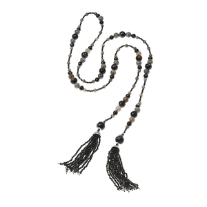 Mystic Black Lariat NecklaceJewelry by Halcraft Collection