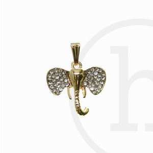 22mm, 22x26mm, 26mm, Charm, Charms, Elephant, Gold, Rhinestone