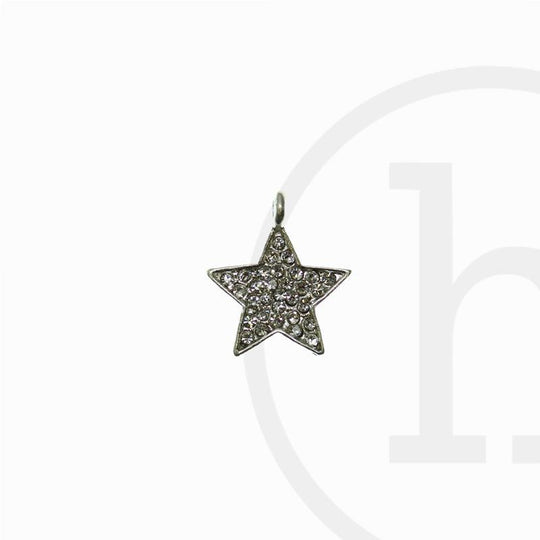 Silver Plated Rhinestone Star 16X20mm  CharmCharm by Bead Gallery