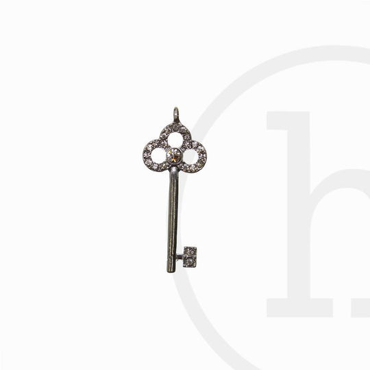 Silver Plated Rhinestone Key 38X15mm  CharmCharm by Halcraft Collection