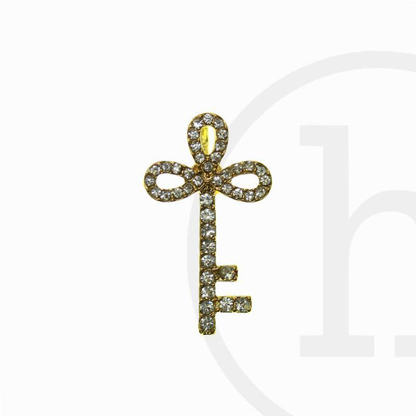 Gold Tone Rhinestone Key 30X17mm Charm