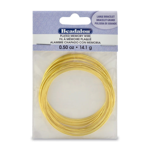 Memory Wire, Round, Large Bracelet, Gold Color, 0.5 Oz (14 G), Appx 30 Coils/Pack