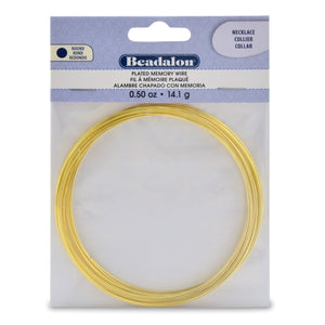 Memory Wire, Round, Necklace, Gold Color, 0.5 Oz (14 G), Appx 18 Coils/Pack