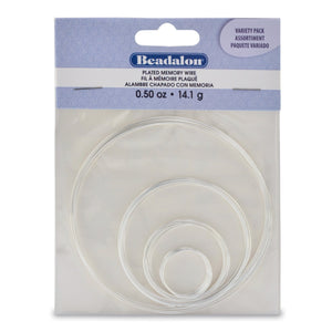 Memory Wire, Round, 4 Assorted Sizes, Silver Plated, 0.5 Oz (14 G)Findings by Halcraft Collection