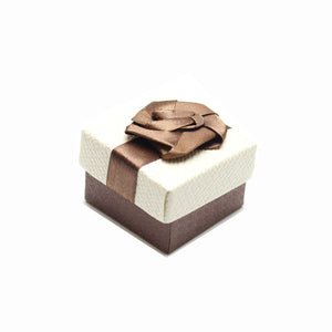Cream and Brown Ribbon Jewelry Box 2 x 2 inches