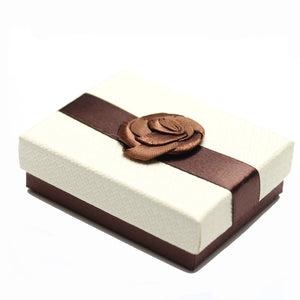 Cream and Brown Ribbon Jewelry Box 2.75 x 3.5 inches