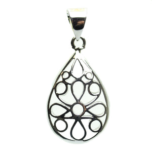 Pendant, Pendants, Metal, Metal Pendant, Metal Pendants, Silver Plated Pendant, Hollow Pendant, Filigree Pendant, Teardrop, Teardrop Pendant, Teardrop Pendants, 20x33mm, 20mm, 33mm, Silver