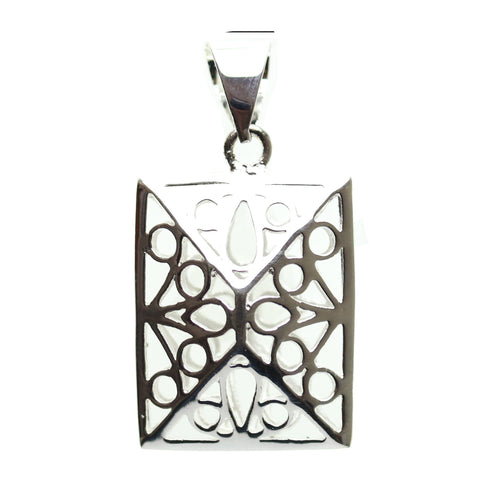 Pendant, Pendants, Metal, Metal Pendant, Metal Pendants, Silver Plated Pendant, Hollow Pendant, Filigree Pendant, Rectangle, Rectangle Pendant, Rectangle Pendants, 20x30mm, 20mm, 30mm, Silver