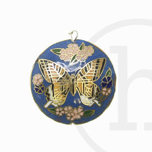 43mm  Monarch Round with Butterfly PrintPendant by Halcraft Collection