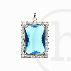 Light Sapphire Cubic Zirconia Faceted 27x37mm  Rectangle PendantPendant by Bead Gallery