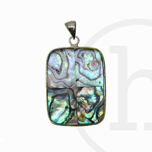 Abalone Rectangle Silver Edge 27x36mm Pendant by Bead Gallery