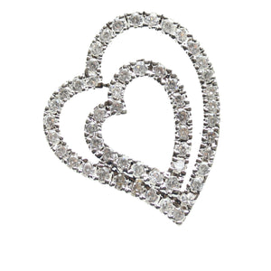 Cubic Zirconia Encrusted Heart Design Pendant with Off-Center BailPendant by Halcraft Collection