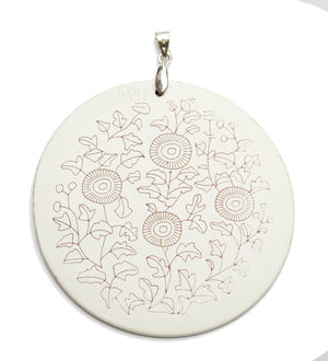 Pendant, Pendants, Wood, Wood Pendant, Wood Pendants, Dyed, Printed, Sunflower Design, , Circle, Circle Pendant, Circle Pendants, 60mm, White