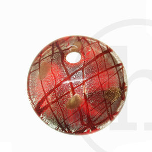 50mm  Ruby & Silver Color Flat Disk Pendant by Bead Gallery