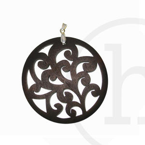 Carved Wood Disk 60mm Pendant by Bead Gallery
