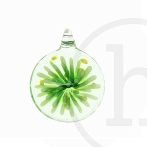 Lampwork Glass Flat Round with Green FlowerPendant by Halcraft Collection