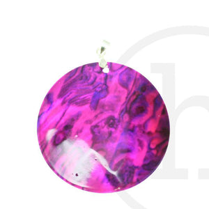 Multi Color Dyed Shell Disk RoundPendant by Halcraft Collection