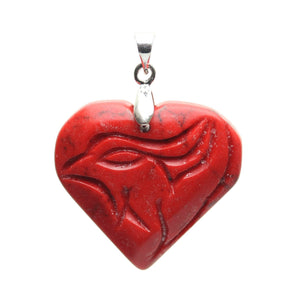Red Dyed Carved Howlite 28mm  Heart PendantPendant by Halcraft Collection