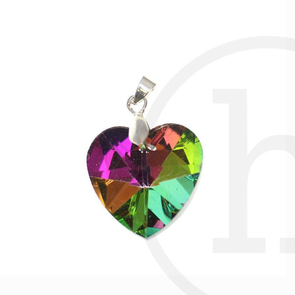 28mm, Glass, Glass Pendant, Heart, Pendant, Rainbow
