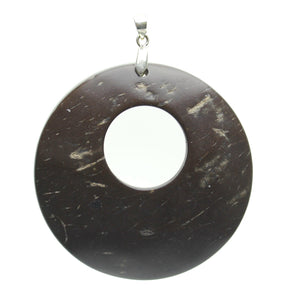 Pendant, Pendants, Wood, Wood Pendant, Wood Pendants, Circle, Disk, Circle Pendant, Disk Pendant, Dyed, Dyed Coconut, Dark Wood, 55mm