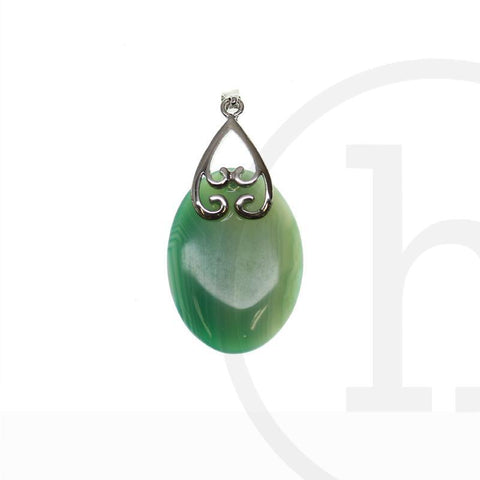 Banded Green Agate Oval