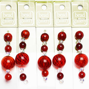 Super Bundle - Red & Black Striped Blown Glass Round Beads 9mm, 12mm, 20mmBeads by Halcraft Collection