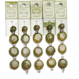 Super Bundle - Brown & Yellow Striped Blown Glass Round & Lentil Beads 12mm, 20mmBeads by Halcraft Collection