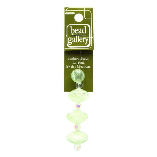 Green Lined Blown Glass Round & Rondell 12mm , 19mm  - 4pcs
