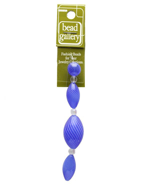 Blue & White Striped Blown Glass Round & Rondell 12mm , 25mm , 30mm  - 4pcsBeads by Halcraft Collection