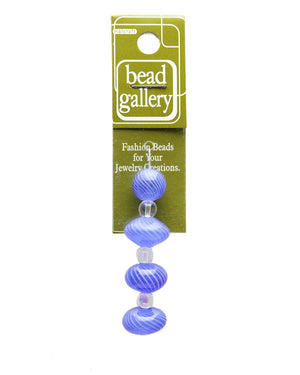 Blue & White Striped Blown Glass Round & Rondell 12mm , 15mm  - 4pcsBeads by Halcraft Collection