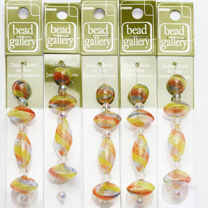 Super Bundle - Multi Striped Blown Glass Round, Rondell & Drop Beads 12mm-26mmBeads by Halcraft Collection