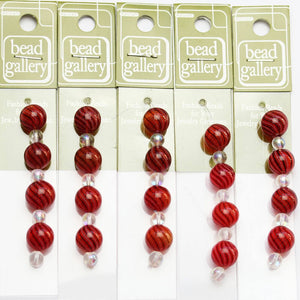 Super Bundle - Red, Black & White Striped Blown Glass Round Beads 12mmBeads by Halcraft Collection