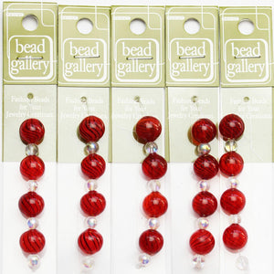Super Bundle - Red Opaque Striped Blown Glass Round Beads 12mmBeads by Halcraft Collection