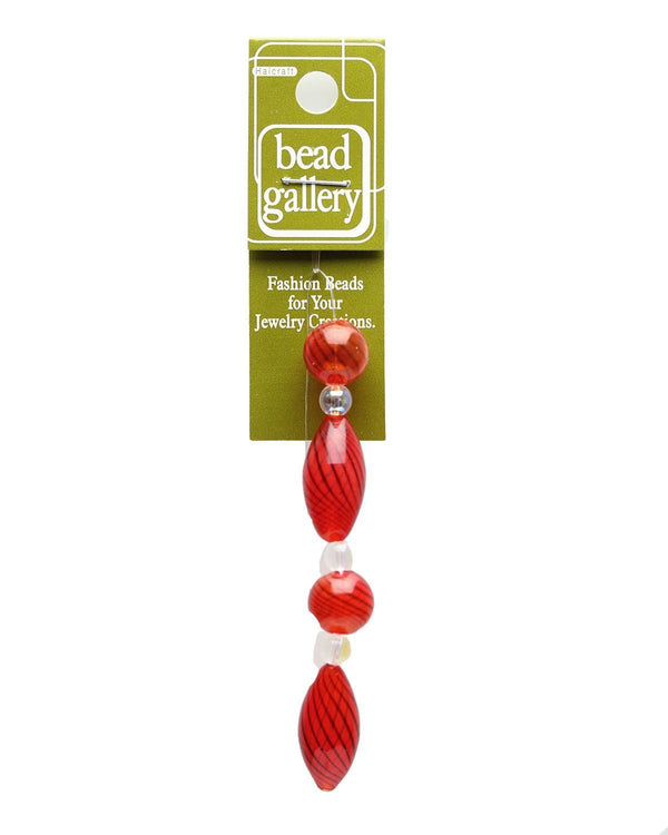Red Striped Blown Glass Oval & Round 12mm , 24mm  - 4pcsBeads by Halcraft Collection