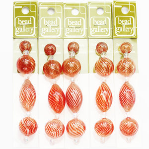 Super Bundle - Red Striped Blown Glass Round & Oval Beads 12mm, 20mm, 32mmBeads by Halcraft Collection