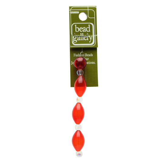 Red Blown Glass Oval & Round 12mm , 19mm  - 4pcs