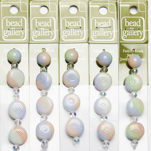 Super Bundle - Multi Striped Blown Glass Round & Lentil Beads 12mm, 15mmBeads by Halcraft Collection