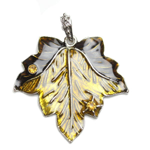 Amber Enameled 55mm  Leaf PendantPendant by Bead Gallery