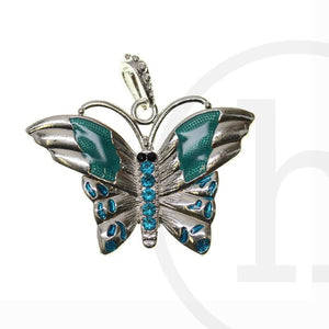 Aqua/Silver Plated ButterflyPendant by Halcraft Collection