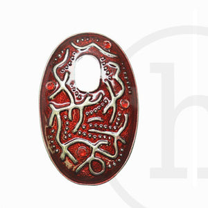 Red Oval 57X38mm Pendant by Bead Gallery