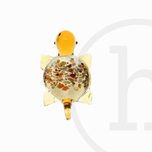 Turtle Lampwork Glass AmberPendant por Bead Gallery