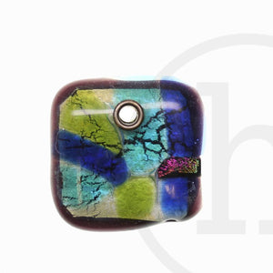 45mm  Multi Glass Square - Pendant by Bead Gallery