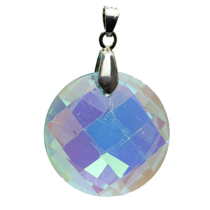 Light Aqua Glass Faceted Circle With A/B Back 30mm Pendant