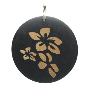 Pendant, Pendants, Wood, Wood Pendant, Wood Pendants, Circle, Disk, Circle Pendant, Disk Pendant, Carved Pendant, Painted Pendant, Floral, Black, Tan, 60mm