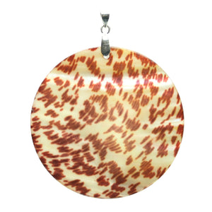 Printed Shell with Floral Design PendantPendant by Bead Gallery