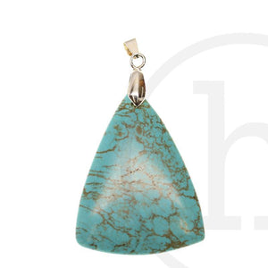 40X50mm  Turquoise Dyed Howlite Triangle DropPendant by Bead Gallery
